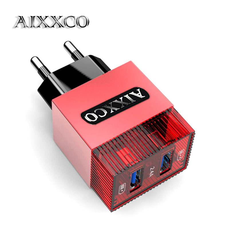 AIXXCO Sugar 2 Ports USB <font><b>Wall</b></font> <font><b>Charger</b></font> <font><b>Phone</b></font> Fast Travel Adapter 5V1A 5V2.4A EU Plug For iPhone Samsung Xiaomi