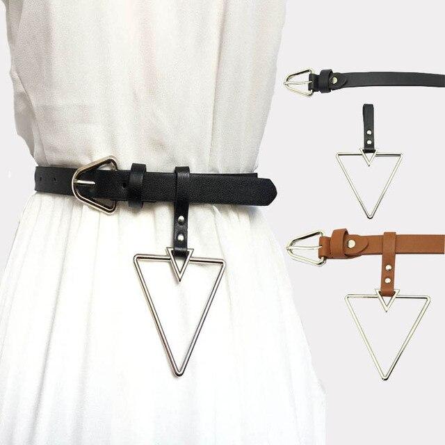 Correia Da Forma Da Menina das mulheres Triângulo de Metal Buckle PU Correia De Couro Para O Vestido Cinto cinturon mujer