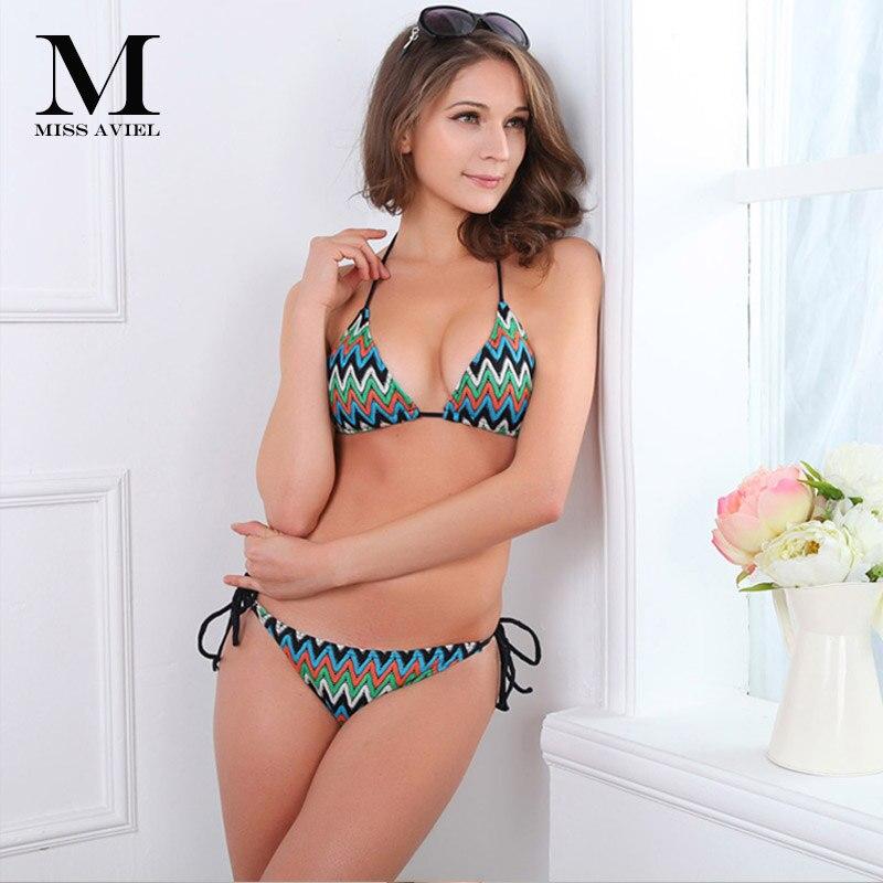 Italy Brand corrugated Swimwears 2018 New Summer Fashion Low Waist Geometric Contrast Knitting compiled women's   Bra   &   Brief     Sets