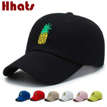 Embroidery Pineapple Dad Hat Cap For Women Adjustable Cotton