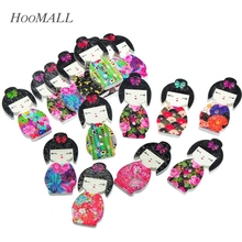 Hoomall 2017 Wholesale 50pcs 2 Holes Mixed Japanese Doll Wooden Buttons Fit Sewing Scrapbooking 3x1.5cm For DIY(China)