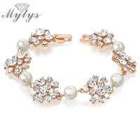 Модные украшенные цветами и жемчугом браслет из розового золота Для женщин украшения подарок b923