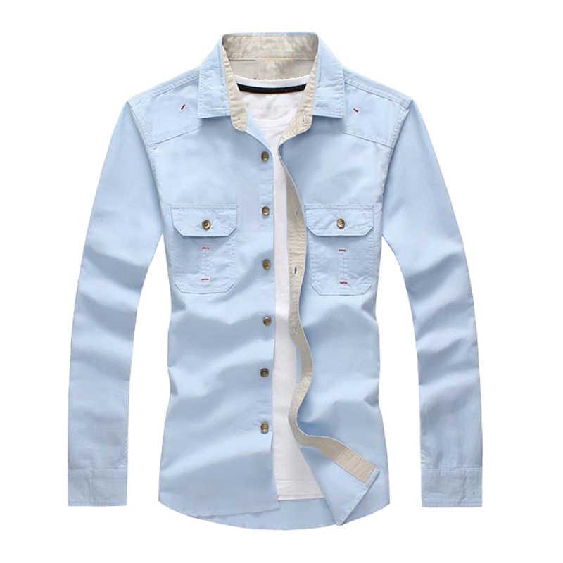 MAGCOMSEN Мужская рубашка 2017 Весенняя однотонная Повседневная рубашка с длинными рукавами Мужская Военная тактическая рубашка для мужчин брендовая одежда AG-FLS-04