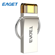 EAGET OTG USB Flash Drive 32GB Cle USB 3.0 Mini key Pen drive 16GB 64GB Encryption Memory Stick Pendrive Flash Disk For Laptop