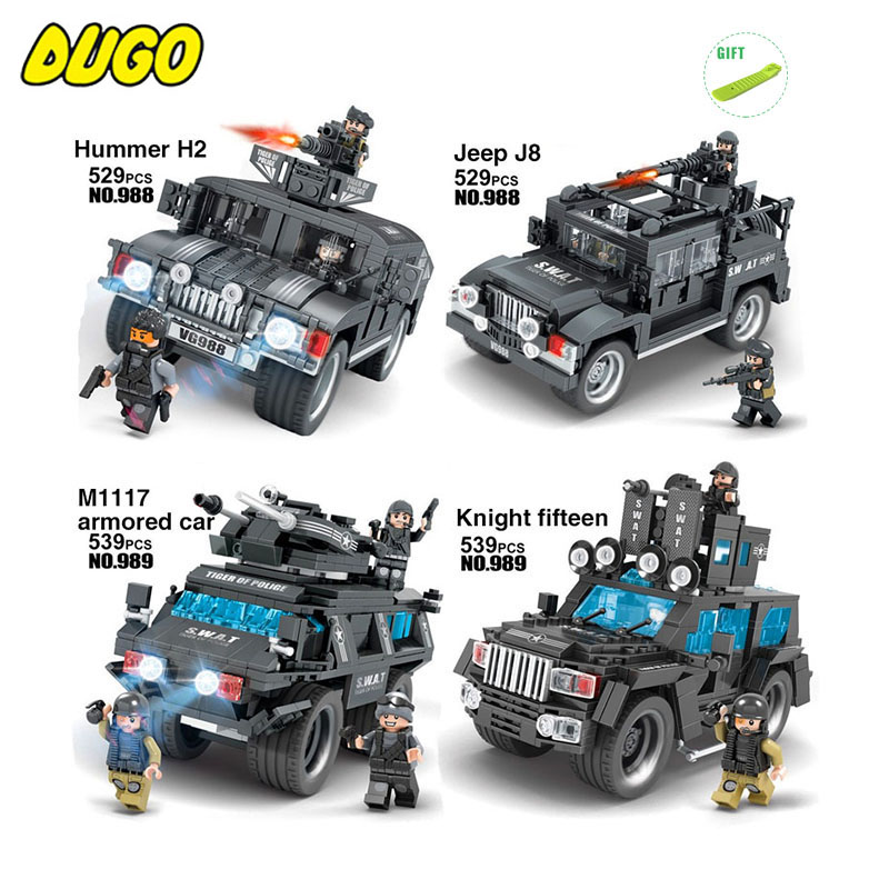 Military SWAT Tiger Of Police Team Figures Trucks Building Blocks Compatible Legoe City Police Stars Wars Boy Toys For Children 8pcs lot city swat police team military figures set army soldiers with guns dog kids block toy compatible for boy sy607