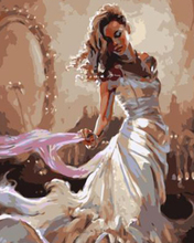 White dress bride By Numbers Modern Wall Art Handpainted Oil Painting On Canvas For Home Decor Frameless Picture 40*50cm