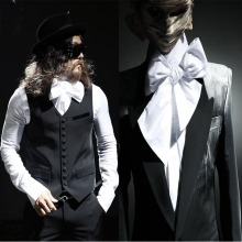 NewTrendy Men's Slim Tops Avant-Garde Urban Chic Dandy Hidden Ribbon Tie Neck Dress Shirts Men's Temperament Elegant Clothing