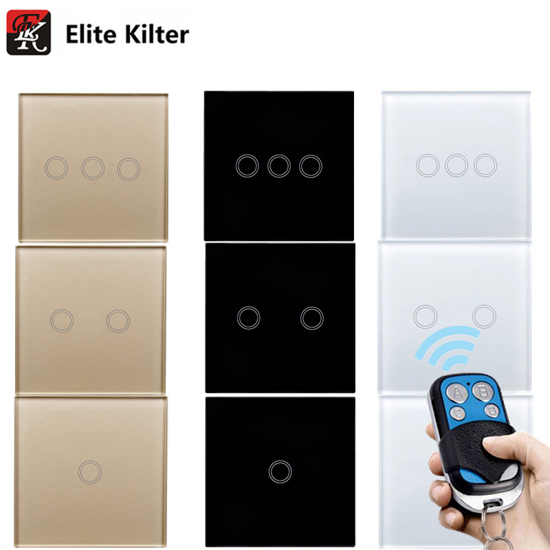 EU/UK Interruptor Táctil Estándar, Luz de la pared Interruptor de la Pantalla Táctil táctil De Pared interruptor de control Remoto, blanco, negro, de oro, AC170 ~ 250 V