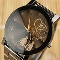 Los Amantes de La Venta caliente Bling Del Diamante Completo de Acero Inoxidable Negro de Cuarzo Reloj de Pulsera Relojes de Pulsera para Hombres de Las Mujeres Durable