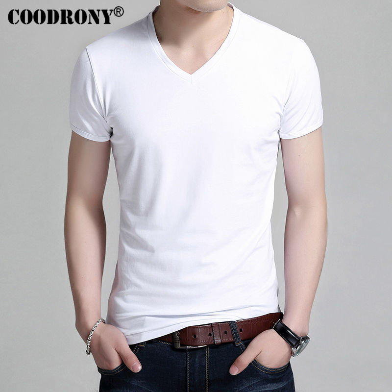 COODRONY   T  -  Shirt   Men Brand Clothing 2017 New Summer Short Sleeve   T     Shirt   Men Casual All-match Cotton V-Neck Tee Undershirt S7602