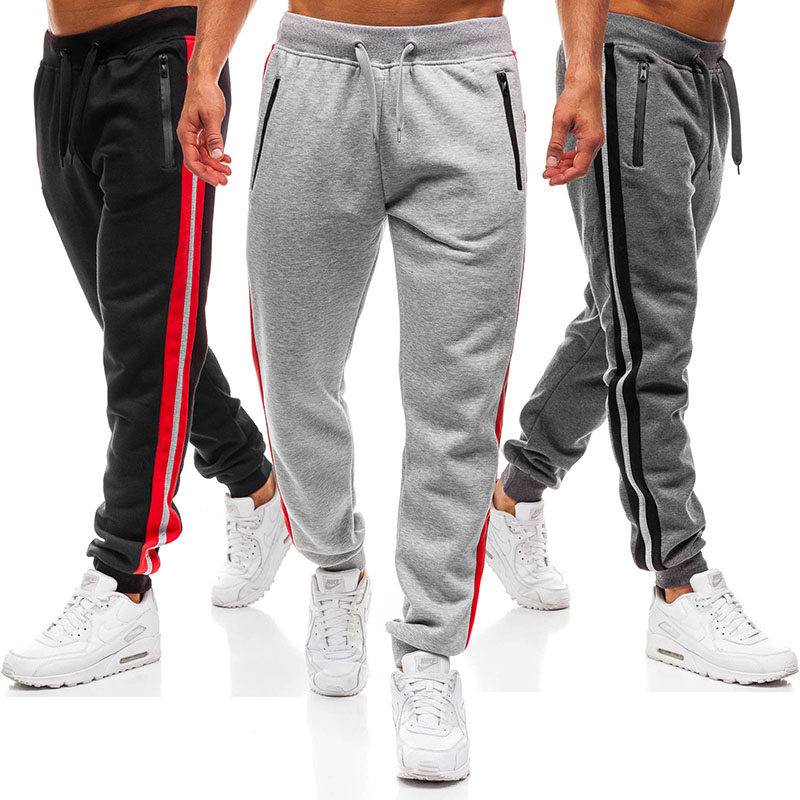 2018 Hot Sports Pants Fashion Zipper Stitching Design Sports Trousers  Mens Sweat Pants  Mens Joggers  Cargo Pants