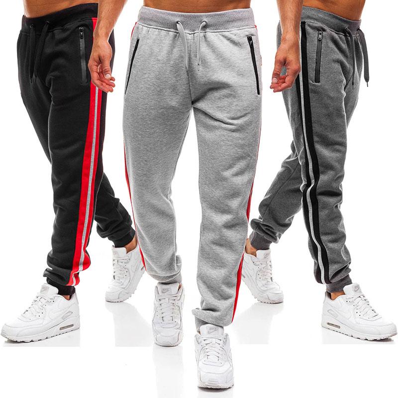 2018 Hot Sports Pants Fashion Zipper Stitching Design Sports Trousers  Mens Sweat Pants  Mens Joggers  Cargo Pants