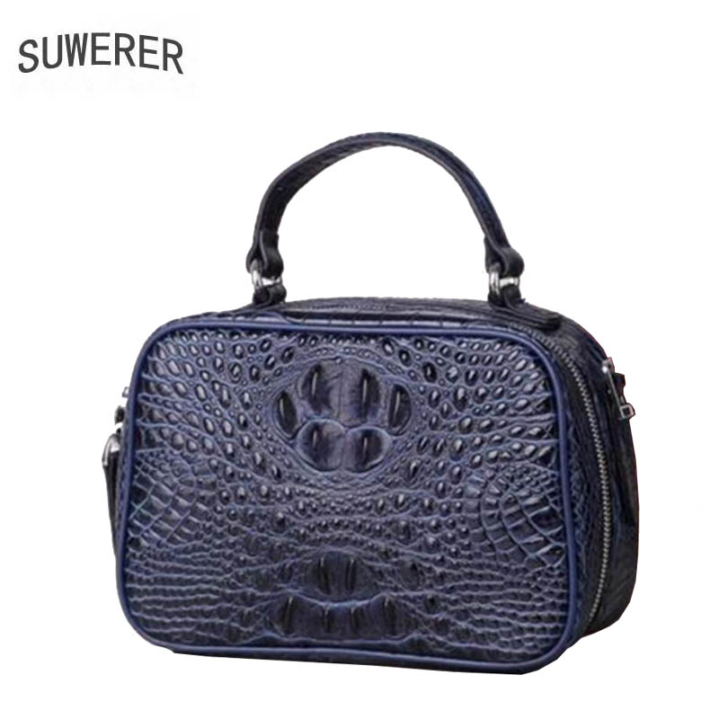 SUWERER 2019 New Women Genuine Leather bags Fashion luxury Crocodile  pattern handbags designer women leather shoulder bag 7d6ae0b73b3a0