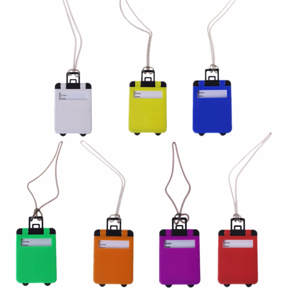 7 Color 5.5x7.5cm Portable Suitcase Luggage Tags Name Address Phone Address Holder ABS Identifier Label ABS