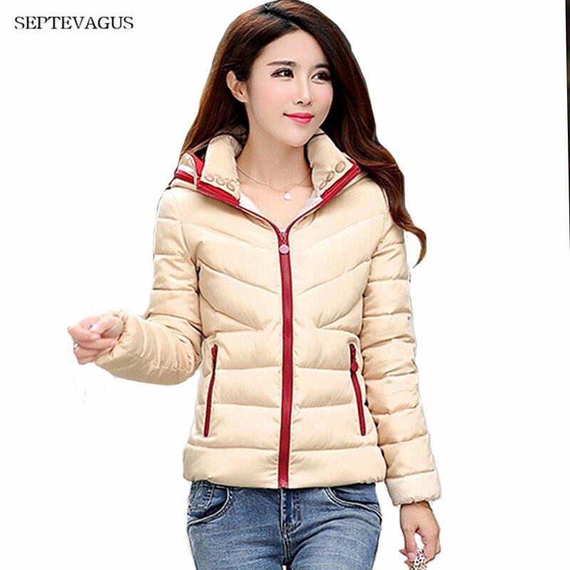 Women Autumn Winter Short Coats   Basic     Jacket   2018 New Solid Hooded Down Cotton Padded Slim Warm Pockets Female   Jacket   Coats