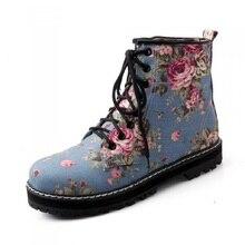 2016 frühling/Herbst Schnürung Vintage Wohnungen Stiefel Weiblichen Flachen Boden Canvas Floral Gedruckt Martin Stiefel Tiefen Mund Einzelnen Schuhe