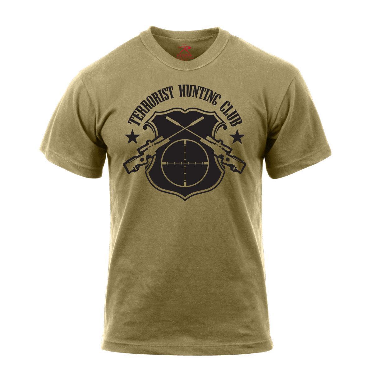 2019 Fashion Summer Style Rothco 'Terrorist Hunts Club' T-Shirt, Coyote Brown Tee Shirt