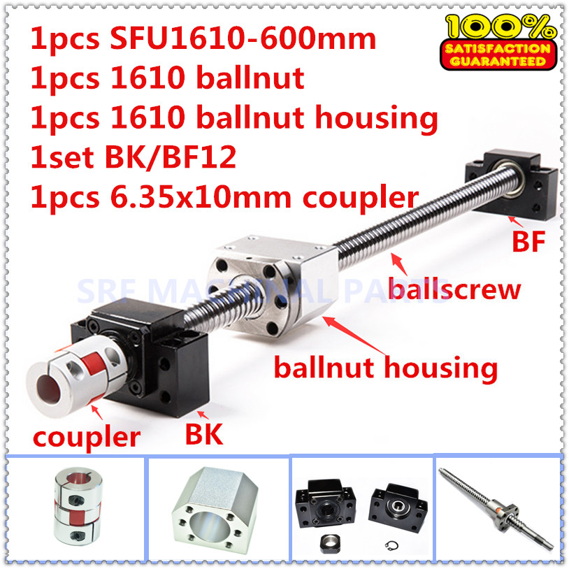 Rolled Ballscrew 1610 sets:1pcs SFU1610 L=600mm with ballnut +1pcs ballnut housing+1set BK/BF12 end support+1pcs shaft coupler 12 hbh20ca square linear guide sets 4 x sfu2010 600 1400 2200 2200mm ballscrew sets bk bf12 4 coupler