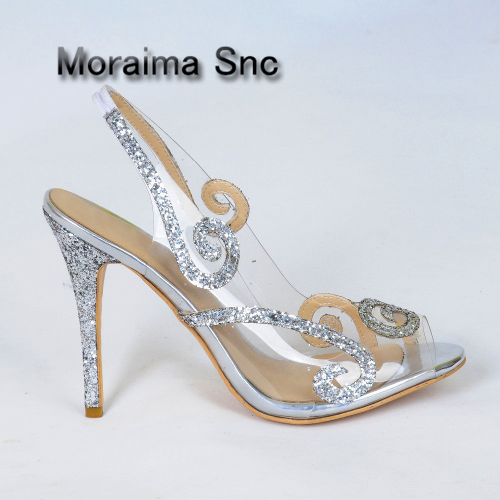 Moraima Snc women shoes sandals PVC Transparent bling bling sliver wedding shoes peep toe high heels sandals mujer stiletto heel