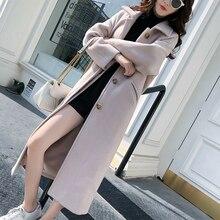 Korean Casual  Women Wool Coat Coats Autumn Winter Plus Size XL Turtleneck Long for