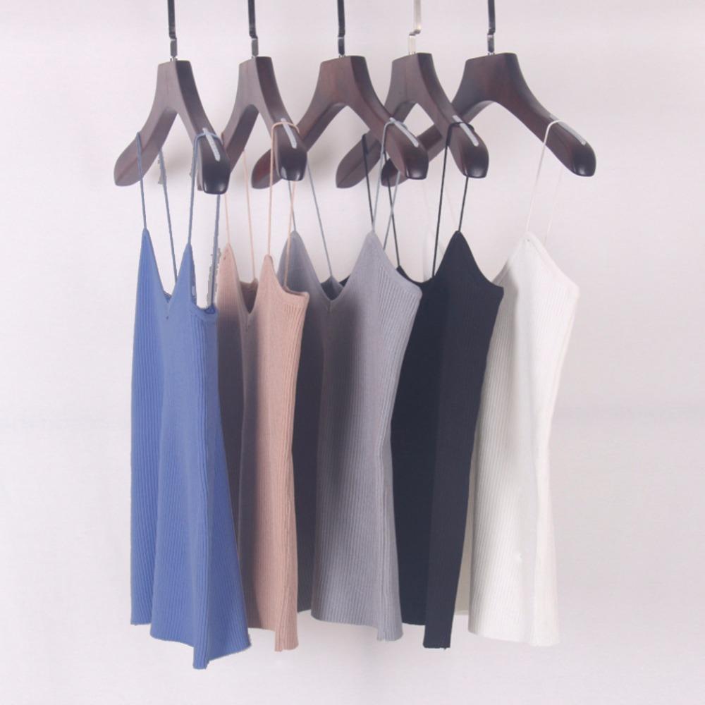 HTB1N.DwPVXXXXXyXXXXq6xXFXXXE - REE SHIPPING 9 Colors Knitted Tank Tops Women Stretchable VNeck Slim JKP311
