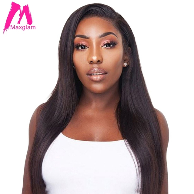 Maxglam 360 Lace Front Human Hair Wigs With Pre Plucked Baby Brazilian Straight Remy
