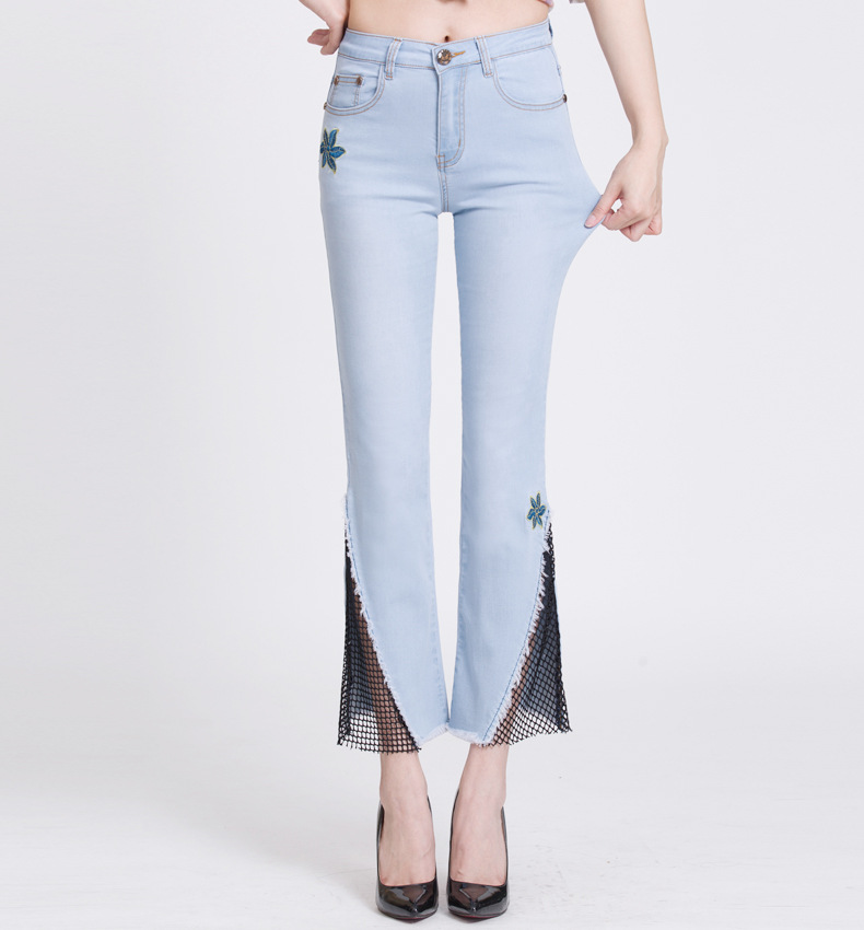 KSTUN hight waist jeans woman bell bottom emboridered denim pants push up net designer women slim fit gloria+jeans plus size 36 15