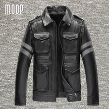 Vintage males black real leather-based coats cow leather-based motorbike jackets stripe spliced manteau homme veste cuir homme LT1230