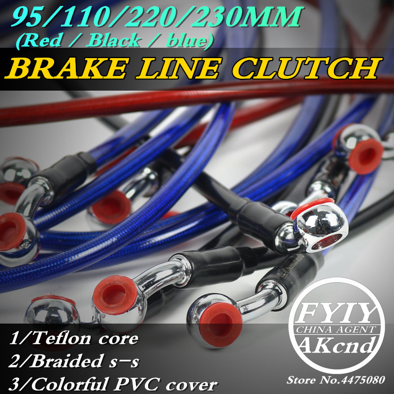 Motorcycle Dirt Bike Braided Steel Hydraulic Reinforce Brake line Clutch Oil Hose Tube 950/1100/2200/2300mm Universal Fit Racing-in Levers, Ropes & Cables from Automobiles & Motorcycles