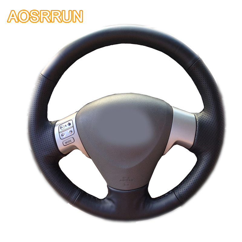 AOSRRUN Car accessories Leather Hand-stitched Car Steering Wheel Covers For Toyota Corolla 2006-2010 Matrix 2009 Auris 2007-2009