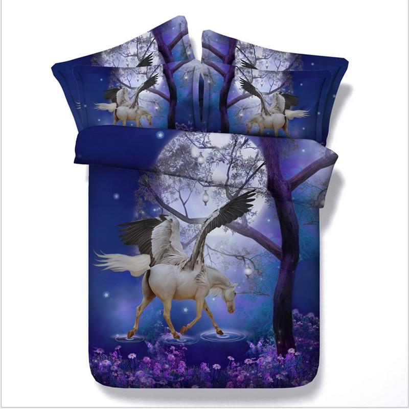 Blu unicorn duvet cover set Queen 3D unicorn set di biancheria da letto US re 4 pcs copertura della trapunta Letto Copriletto biancheria da letto letto set decorazione della casa