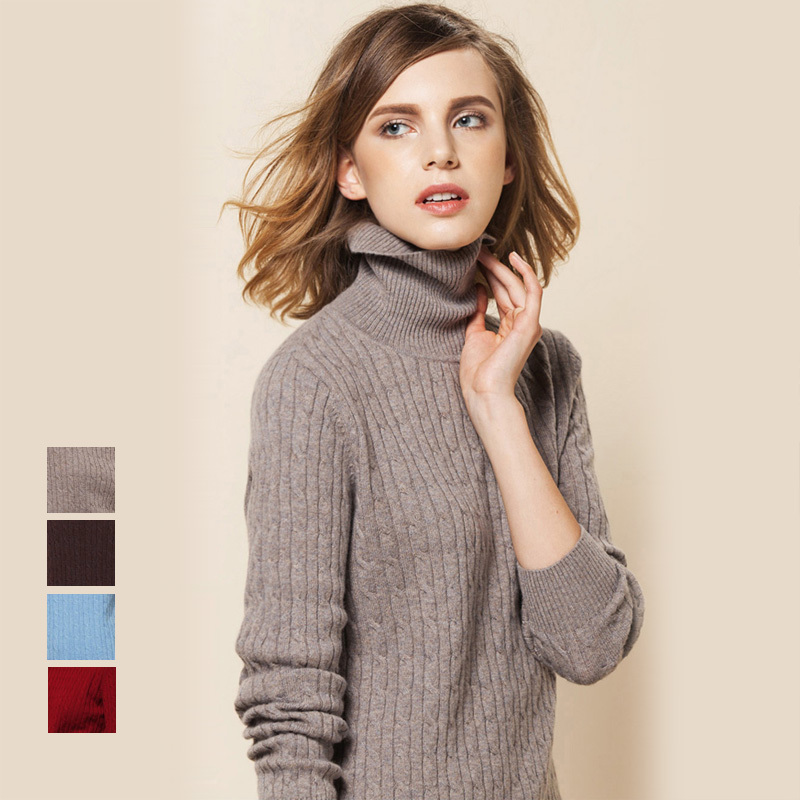 100% CASHMERE women solid PULLOVERS sueter Luxury Turtleneck wool ...