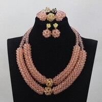 Trendy Baby Pink Crystal Handmade Jewelry Sets African Bridal Jewelry Beads Set New Design Birthday Gift Free ShippingABL943