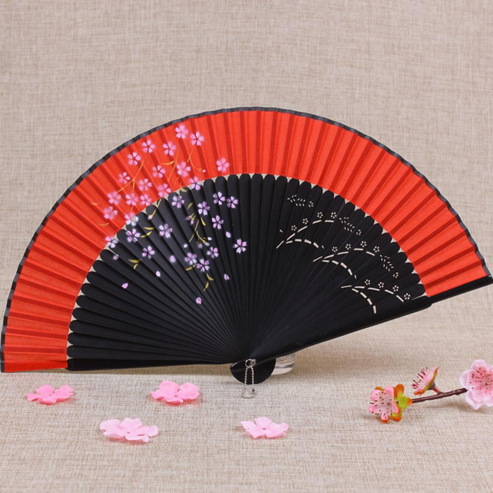 Vintage Folding Fan Silk Cloth Sakura Printed Japanese Style Home Decoration Bamboo Spun Fan Culture Collection Party Supplies