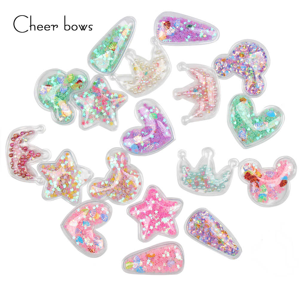 30bc9ba5c5 Cheerbow 5pcs Transparent Applique With Colorful Sequin Pearl Heart ...