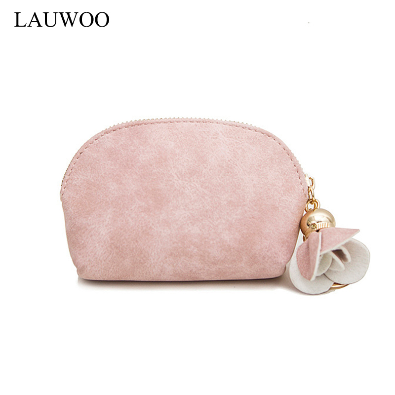 LAUWOO Creative Girls Kawaii coin purse tassel leather women small zipper pocket Cute Candy colors Coin Purse mini wallet