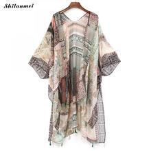 цена на Boho Kimono Mujer 2019 Summer Beach Tassel floral Shirt Women Vintage Kimono Long Cardigan Feminino print Blouse Bohemian Tops