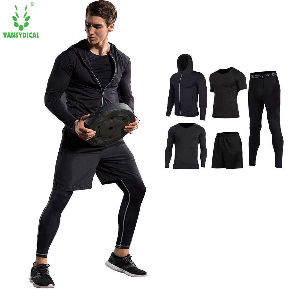 New 4pcs Sports Suit Tracksuit Men Quick Dry Basketball Soccer Mens Sports Suits Sportswear Man Fitness