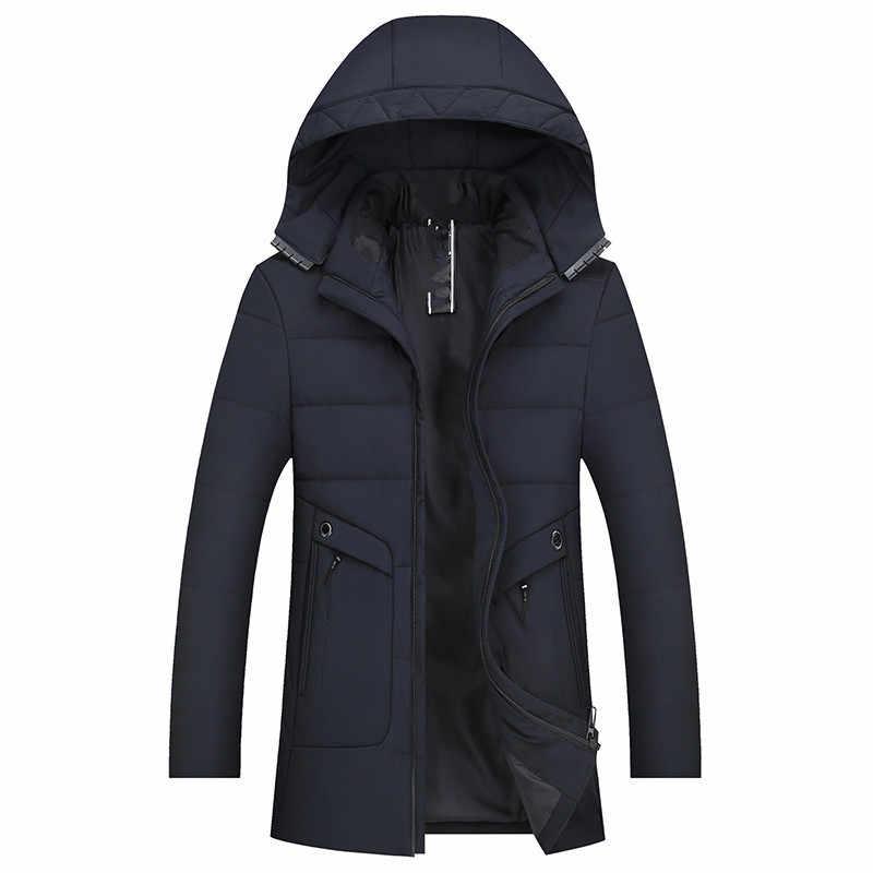 a024924bfe56 Большие размеры 8XL 6XL 5XL зимняя куртка мужская с капюшоном тонкий  корейский парка Hombre длинная куртка