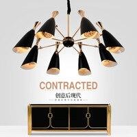 Northern European Postmodern Restaurant Iron Horn Led Chandelier AC85 265V Simple Creative Living Room Lamp E27