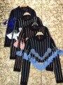 2016 Newy Sexy Mujer de Manga Larga Del O-cuello Azul Rosa Blanco rayas Rebordear Borla Tops Coat elegante rayon Bodycon HL Partido vendaje