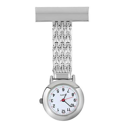 Unisex Stainless Steel Pendant Quartz Nurse Doctor Brooch Pocket Fob Watch