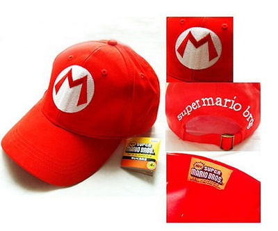 Super Mario Bros Adult Kids Costume Hat Anime Cosplay Red Mario Cap Baseball Caps
