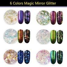 цена на 1 box lucency Chameleon Magic Mirror Effect Flakes Multi Chrome Nail Powder Glitter Sequins Nail Art Gel Nail Polish Manicure