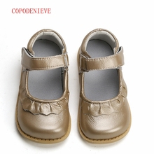 COPODENIEVE girls shoes genuine leather black mary jane with flowers white rose children good quality stock little kids