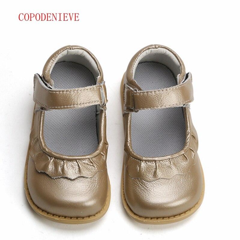 COPODENIEVE niñas zapatos de cuero genuino negro mary jane con flores rosa blanca zapatos de los niños zapatos de stock de buena calidad los niños