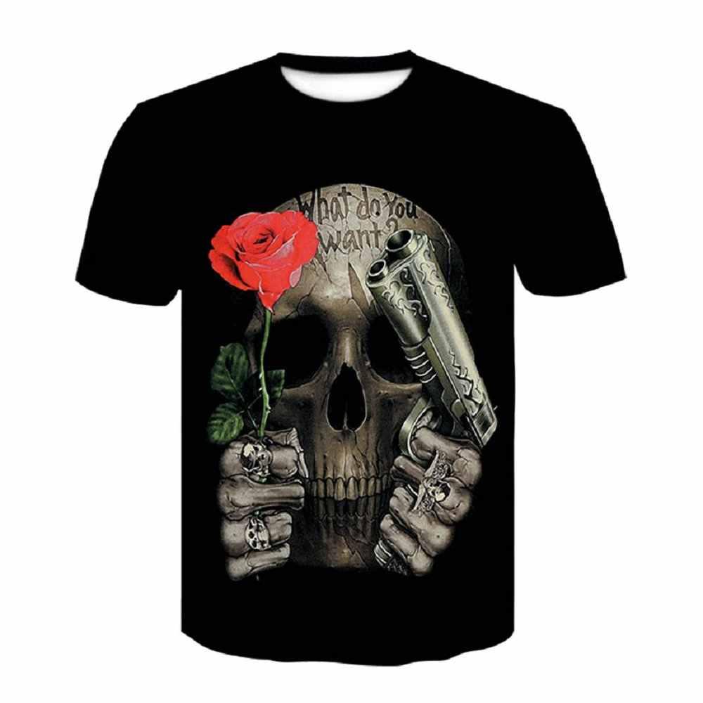 3D מודפס גולגולת פרחוני חולצה שחור קצר שרוולים ורדים אופנה Tees חולצות פאנק רוק סגנון t גברים חולצה בתוספת גודל גדול