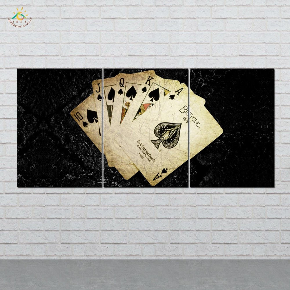 Picture And Poster Canvas Painting Modern Wall Art Print Pop Art Cards Poker Game Wall Pictures For Living Room 3 PIECES in Painting Calligraphy from Home Garden