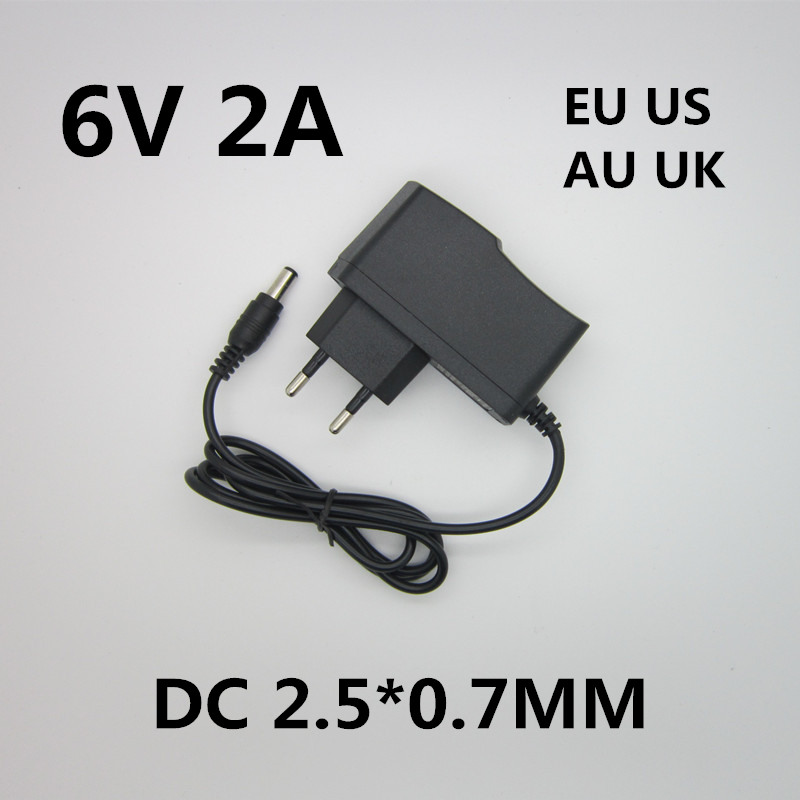 Best quality AC/DC Adapter DC 6V 2A AC 100-240V Converter Adapter,6V2A Charger Power Supply EU Plug DC 2.5*0.7MM free shipping