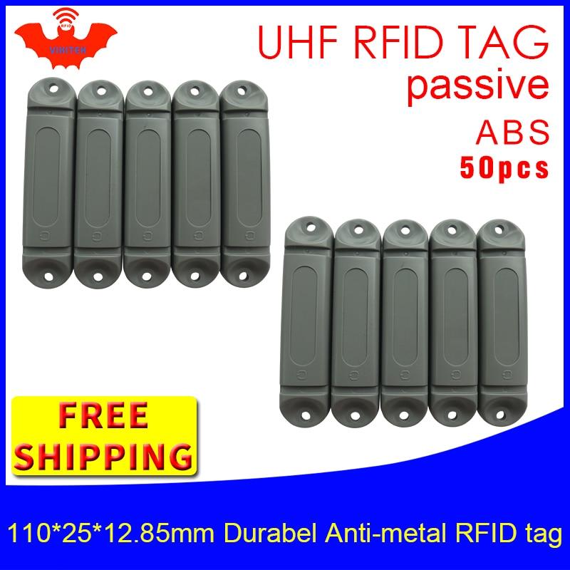 UHF 帯 RFID 抗金属タグ 915m 868mhz M4QT 110*25*12.85 ミリメートル 50 個送料無料耐久性のある abs 登山フレームスマートカードパッシブ rfid タグ -